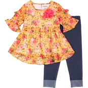 Little Lass Toddler Girls Floral Top and Leggings 2 pc. Set