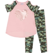 Little Lass Toddler Girls Sequins Top and Leggings 2 pc. Set