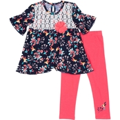 Little Lass Toddler Girls Lace and Floral Top and Leggings 2 pc. Set