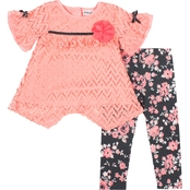 Little Lass Chevron Lace Top and Floral Leggings 2 pc. Set