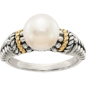 14K Gold over Sterling Silver Freshwater Cultured 8mm Pearl Ring