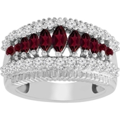 Sterling Silver Genuine Ruby Marquise and Round with Created White Sapphire Band