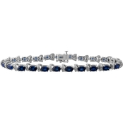 Sterling Silver Diamond Accent with Created Blue Sapphire Oval Bracelet