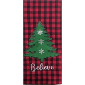 Kay Dee Designs Camp Christmas Checkered Applique Christmas Tree Tea Towel
