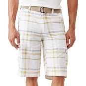 WearFirst Plaid Print Cargo Shorts with Belt
