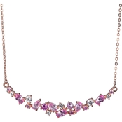 14K Rose Gold Over Sterling Silver Lab Created Pink and White Sapphire Necklace