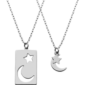 SS no Stone Star & Moon Pendant Set