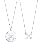 Rhodium Over Sterling Silver Crossroads Necklace Set
