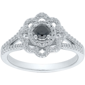 Sterling Silver 1/2 CTW Enhanced Black and White Diamond Fashion Ring