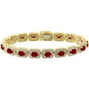 Sterling Silver 10K Yellow Gold Plate Created Ruby Octagon Bracelet