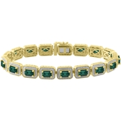 Sterling Silver with 10K Yellow Gold Plate Simulated Emerald Octagon Bracelet