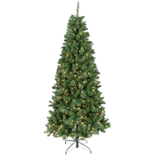 Majestica, 7.5ft Pre-Lit Slim Christmas Tree - Clear Lights