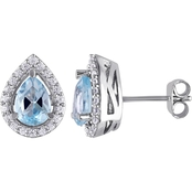 Blue Topaz and Created White Sapphire Teardrop Stud Earrings in Sterling Silver