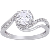 Sofia B. Created White Sapphire and 1/10 CT TW Diamond Swirl Ring in 10k White Gold