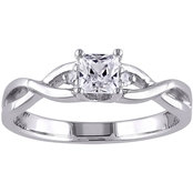 Princess-Cut Created White Sapphire and Diamond Infinity Ring Sterling Silver