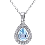 Blue Topaz and Created White Sapphire Teardrop Halo Necklace in Sterling Silver