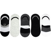 Steve Madden Ladies Colorblock 5PK Foot Liner Black White Grey