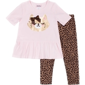 Little Lass Little Girls Sequins Kitty Top and Leggings 2 pc. Set