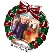 GiGi Seasons Silver-Plated Christmas Pet Frame with Swarvski Embossed Crystals