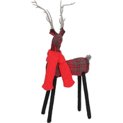 GiGi Seasons 13.5 in. Plaid Baby Deer with Scarf Christmas Decor