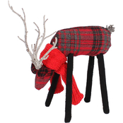 GiGi Seasons 9 in. Plaid Grazing Deer with Scarf Christmas Decor