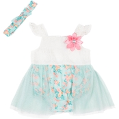 Little Lass Infant Girls Lace Flutter Sleeve Walk Through Sunsuit