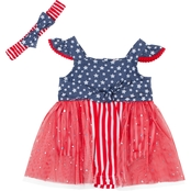 Little Lass Infant Girls USA Walk Through Sunsuit
