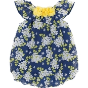 Little Lass Infant Girls Floral Ruffle Bubble Dress