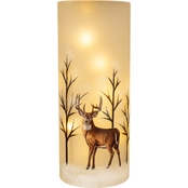 ICE Design Factory Hand Painted Deer Scene LED Glass Vase Christmas Decor