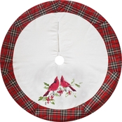 ICE Design Factory Cardinal Tree Skirt with Plaid Border