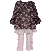 Bonnie Jean Infant Girls Embroidered Mesh Ruffle Set