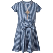 Bonnie Jean Little Girls Mock Neck Tie Front Dress