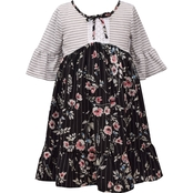 Bonnie Jean Little Girls Stripe Floral Ruffle Dress