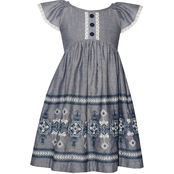 Bonnie Jean Little Girls Embroidered Boarder Dress