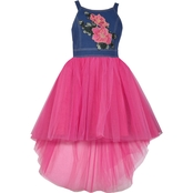 Bonnie Jean Girls Embroidered Denim to Tulle Dress