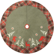 ICE Design Factory 48 in. Lodge Moose/Deer/Bear Fleece Tree Skirt with Plaid Border