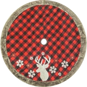 ICE Design Factory 48 in. Deer Buffalo Plaid Tree Skirt with Faux Fur Border