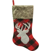 ICE Design Factory 20.5 in. Buffalo Plaid Deer Stocking