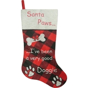 ICE Design Factory 20.5 in. Santa Paws Buffalo Plaid Stocking with Fur Cuff