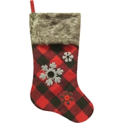 ICE Design Factory 20.5 in. Buffalo Plaid Snowflake Stocking with Fur Cuff