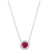 STERLING SILVER 5MM RUBY & WHITE TOPAZ NECKLACE