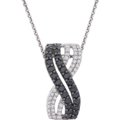 Sterling Silver 1/2 CTW Bypass Row Pendant