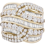 10K Yellow Gold Fashion 2-1/2 CTW Multi Rows Ring Size 7