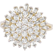 10K Fashion 1 CTW Cluster Ring Size 7