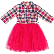 Little Lass Infant Girls Plaid and Tulle Dress