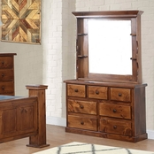 Chelsea Home Furniture Hide Away 7 Drawer Dresser with Hutch Mirror