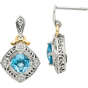 Sterling Silver with 14K Diamond and Blue Topaz Earrings
