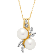 10K Yellow Gold 7mm Freshwater Pearl and Created White Sapphire Pendant