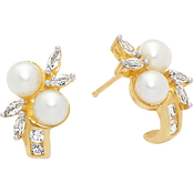 10K Yellow Gold 4-5mm Freshwater Pearl and Created White Sapphire Earrings