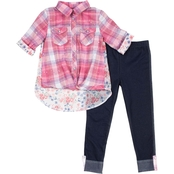 Little Lass Toddler Girls 2 pc. Plaid Top and Faded Rose Print Leggings Set